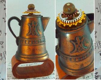 Upcycled gift, jug, steampunk jug, mancave, Steampunk, desk ornament, paperweight, mancave decor, steampunk paperweight, steampunk decor,