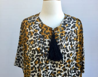 "Vintage ""Acorn"" late 1960s animal print gown (can be worn as a dress, beachwear or dressing gown)"
