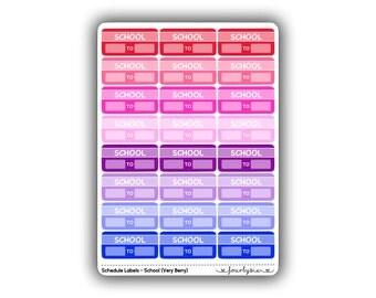 Schedule Labels - School (Very Berry)