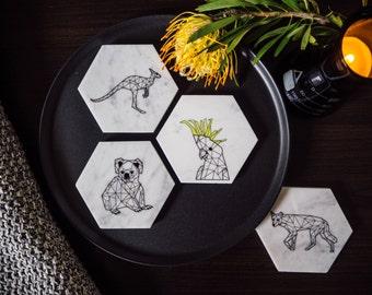 Carrara Marble Coasters - Stone Coasters - Housewarming Gift - Geometric - AUSTRALIAN Collection (4 Pack) - Marble
