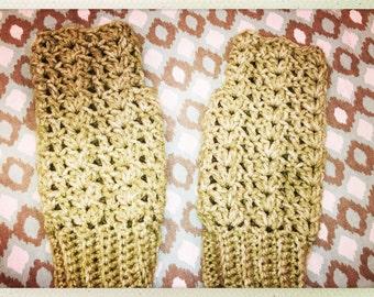 Sage Green Crocheted Adult Size Fingerless Gloves