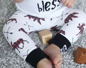 SALE || Plaid Moose & Bears - Baby Leggings, Toddler Leggings