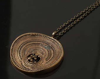 Jorma Laine Vintage Finnish Bronze Modernist Necklace