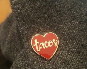 tacos hard enamel lapel pin