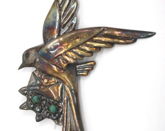 Patina Sterling Swallowtail Bird Brooch Pin