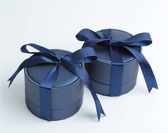 Royal Blue PU Jewelry Box/Couple Rings Earring Package Box/ Dark Blue Valentine's gift box/065