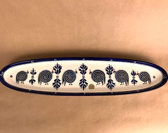 Blue Guinea Fowl Bread Tray Ceramics by Dragana Jevtovic, hand painted in Cape Town, South Africa. Animals, Serving platter