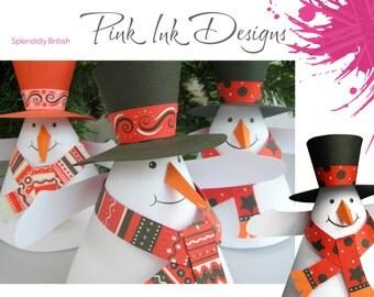 Snowman pdf pattern. Paper craft, digital download.
