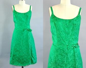 Vintage 1960s Handmade Green Floral Brocade Strap Dress. 1960s Spring Summer Day Dress. Vintage Size Large Floral Brocade Dress.