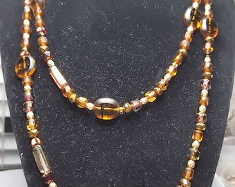 Brown & Bronze Check Glass Necklace
