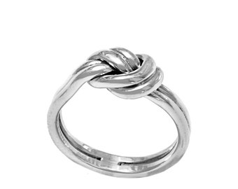 Sterling Silver Handmade Double Knot Ring, Sailor Knot, Love Knot, Promise Ring, Friendship Ring,
