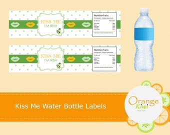 St Patrick's Day Kiss Me I'm Irish Water Bottle Labels, St Pattys Day Water Bottle Wraps, Waterproof Labels, Leprechaun Water