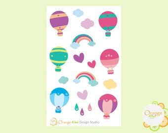 Hot Air Balloon Planner Stickers, Erin Condren Life Planner, Happy Planner, Filofax, Kikki K