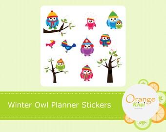 Winter Owl Planner Stickers, Cute Owl Stickers, Erin Condren Life Planner, Happy Planner