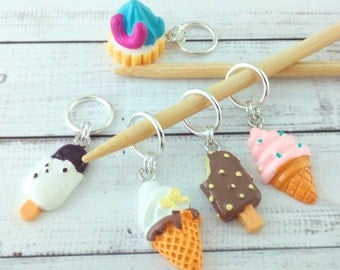Ice cream stitch markers - dessert food stitchmarkers - knitting or crochet progress markers place holders