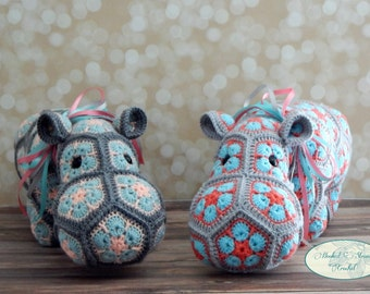 Crochet Hippo, Plush hippo, Heidi bears, Hippo Stuffed animal, Childs toy, Baby shower gift, African flower doll, Handmade animal