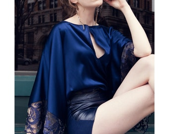 Deep blue silk blouse with lace sleeves edges, and magnetic button