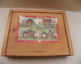 Vintage Wooden Building Set - Made In Germany , Wood Architectural Building Block Set in Wooden Box , German Wood House Building Playset
