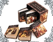 5 CHARLES DICKENS Dollhouse Miniature Book 1:12 – Full Set of 5 Miniature Charles Dickens Book  + Collector Box - Dickens Printable DOWNLOAD