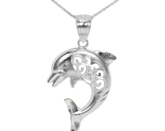 10k White Gold Dolphin Necklace