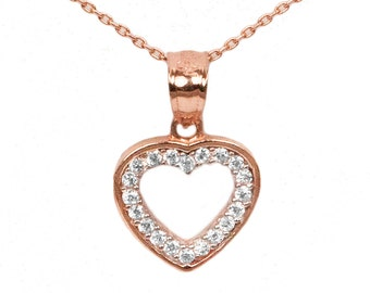 10k Rose Gold Cubic Zirconia Heart Necklace