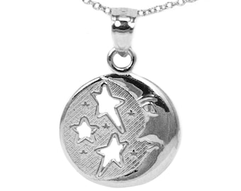 14k White Gold Round Moon and Stars Pendant Necklace