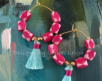 Tassel Hoop Earrings - PINK and AQUA, hot pink, gold, beaded, dangle, pink and gold, pink and white, argyle, geometric, turquoise