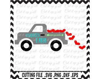 Valentine Truck Svg, Cupids Farm, Svg-Png-Dxf-Eps-Fcm, Cutting Files For Silhouette Cameo/ Cricut and More.