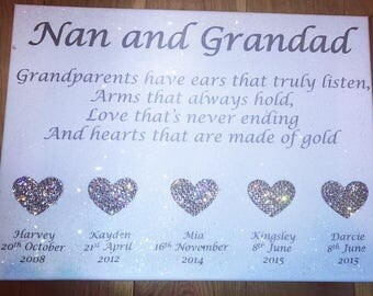 Diamond Effect Grandparents Canvas with Swarovski Crystal Elements