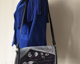 """Halloween black designer handbag real soft leather bag has unique printed picture - """"skeletons"""" stylish handmade bag new has size-small."""