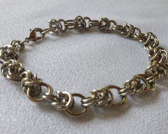 silver bracelet for man in mesh chain