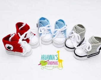 Crochet baby shoes / Crochet baby converse / Boys converse / Crochet baby boy sneakers / Baby shoes/ Baby shower gift