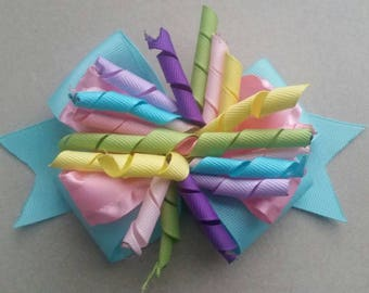 Spring Girls Hairbow,Pink Corker Headband, Multi Colored Hair, Pink, Aqua, and Spring Colors Hair Clip
