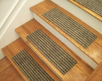 """Essential Carpet Stair Treads - Style Classy - Color Beige Black - Size 24"""" x 8"""" - Sets of 4, 7, 13, or 15"""