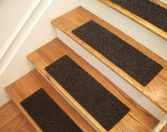 """Essential Carpet Stair Treads - Style Herringbone - Color Charcoal Black - Size 24"""" x 8"""" - Sets of 4, 7, 13, or 15"""