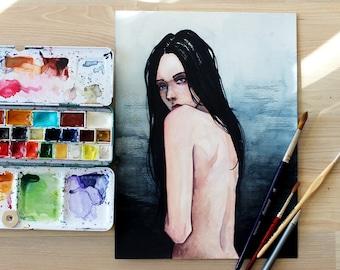 """Watercolor, """"Destiny"""", painting, original, illustration, portraiture"""