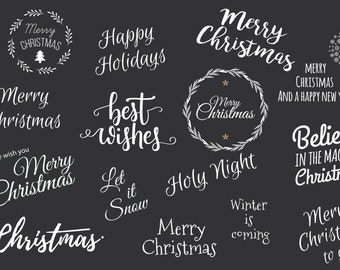 15 Christmas Holiday Overlays - Text Photo Overlay  INSTANT DOWNLOAD