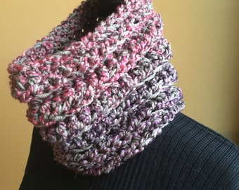Gray Neck Warmer, Gray Cowl, Gray Scarf, Pink Cowl Neck