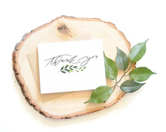 Greenery Thank You card . Hand lettered card . modern calligraphy . watercolor . leaves . stationery
