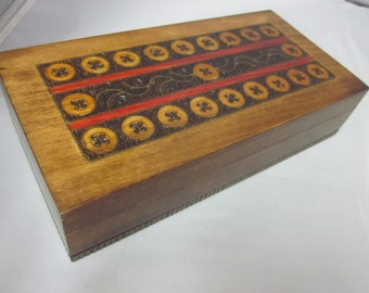 "Poland Folk Art Polish Wood Box Hinged Button 7.75"""" by 3.75"" by 1.75"" Art Deco Jewelry Trinket Treasure"