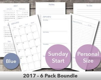 2017 - 6 Pack Bundle Dated and Undated Planner Inserts – Fits Filofax Personal Size and Kikki.K Medium Size – Printable – Blue – Sunday