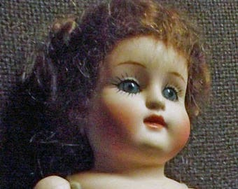 Antique Repro doll, approx. 23.5 cm (4)