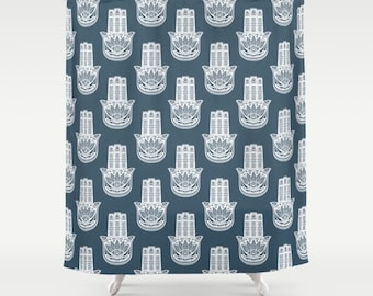 Blue Shower Curtain, Hamsa Hand Shower Curtain, Boho Bath Decor, Blue Bathroom  Accessories