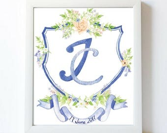 Custom Watercolor Wedding Crest | Hand Painted Crest for Invitations, Stationery, Digital, Print | Monogram | Heraldry