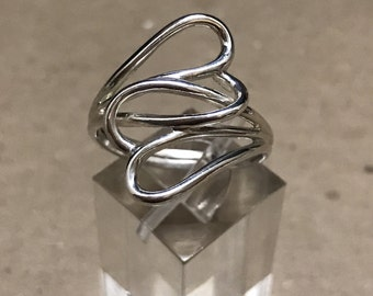Size 10, vintage Sterling silver handmade ring, solid 925 silver wired double hearts band, stamped 925 A