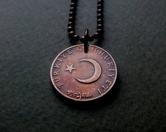Crescent Moon Coin - Moon Amulet - Turkey Kurus Coin  - Islam Coin Pendant - Men coin necklace - Women Charm - Gift for him - Gift under 20