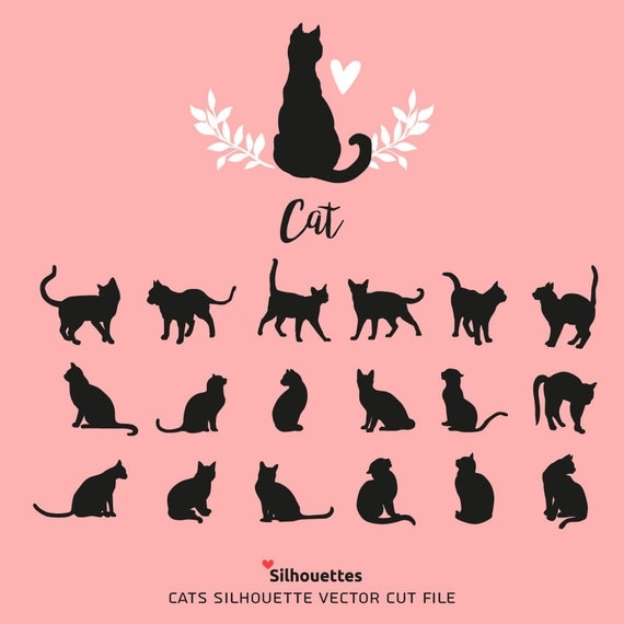 Svg Cats Love Cats Silhouette Svg Dxf Eps Jpg Png