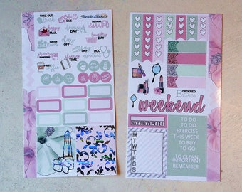 PRE SALE beauty girl FOILED personal kit | glossy || planner stickers