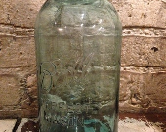 Vintage 1920s No. 13 Blue Mason 1/2 Gallon Jar with Zinc Lid Superstitious Housewife Quackery