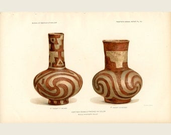Native American Vases from The Mississippi Valley - J. W. Powell Bureau of American Ethnology 1903 - Ancient Native American Artifact Print